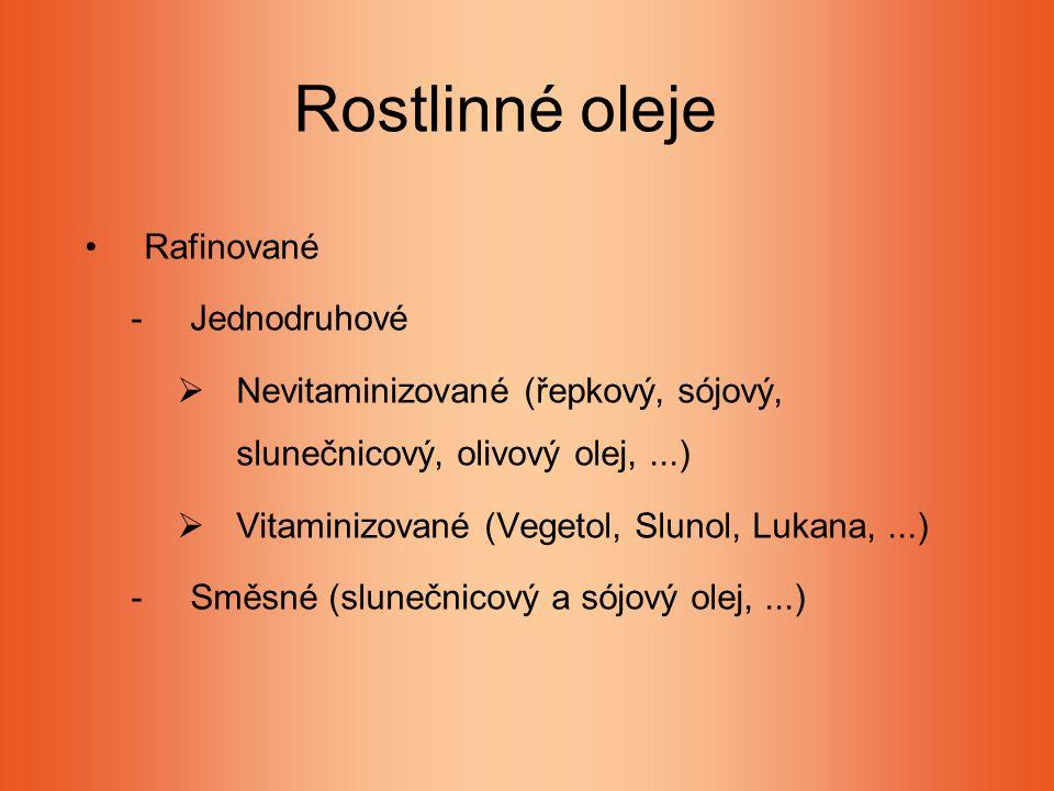 Rostlinné oleje Rafinované -Jednodruhové  Nevitaminizované (řepkový, sójový, slunečnicový, olivový olej,...)  Vitaminizované (Vegetol, Slunol, Lukana,...) -Směsné (slunečnicový a sójový olej,...)