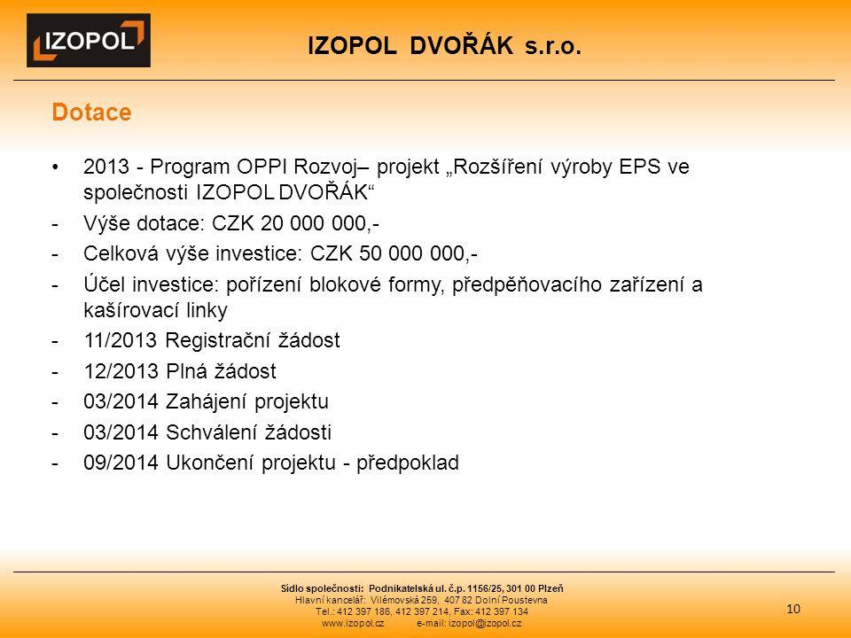 """IZOPOL DVOŘÁK s.r.o. Dotace 2013 - Program OPPI Rozvoj– projekt """"Rozšíření výroby EPS ve společnosti IZOPOL DVOŘÁK"""" -Výše dotace: CZK 20 000 000,- -Ce"""