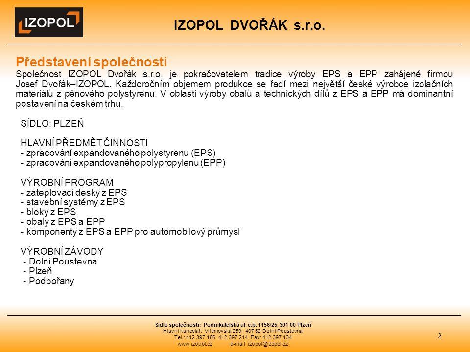 IZOPOL DVOŘÁK s.r.o. 2 Sídlo společnosti: Podnikatelská ul.
