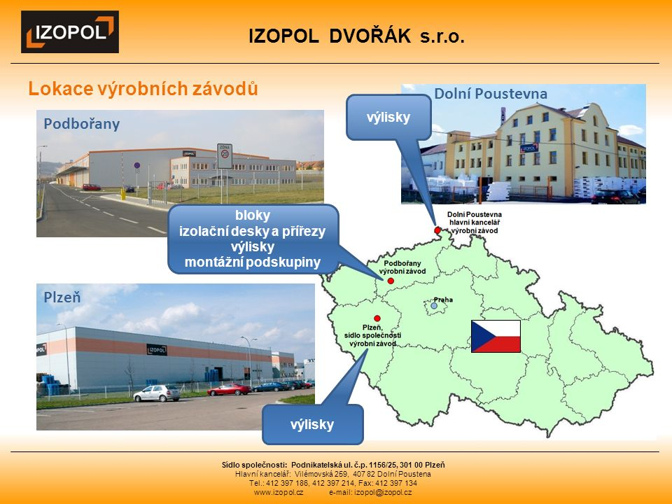 IZOPOL DVOŘÁK s.r.o. Sídlo společnosti: Podnikatelská ul.