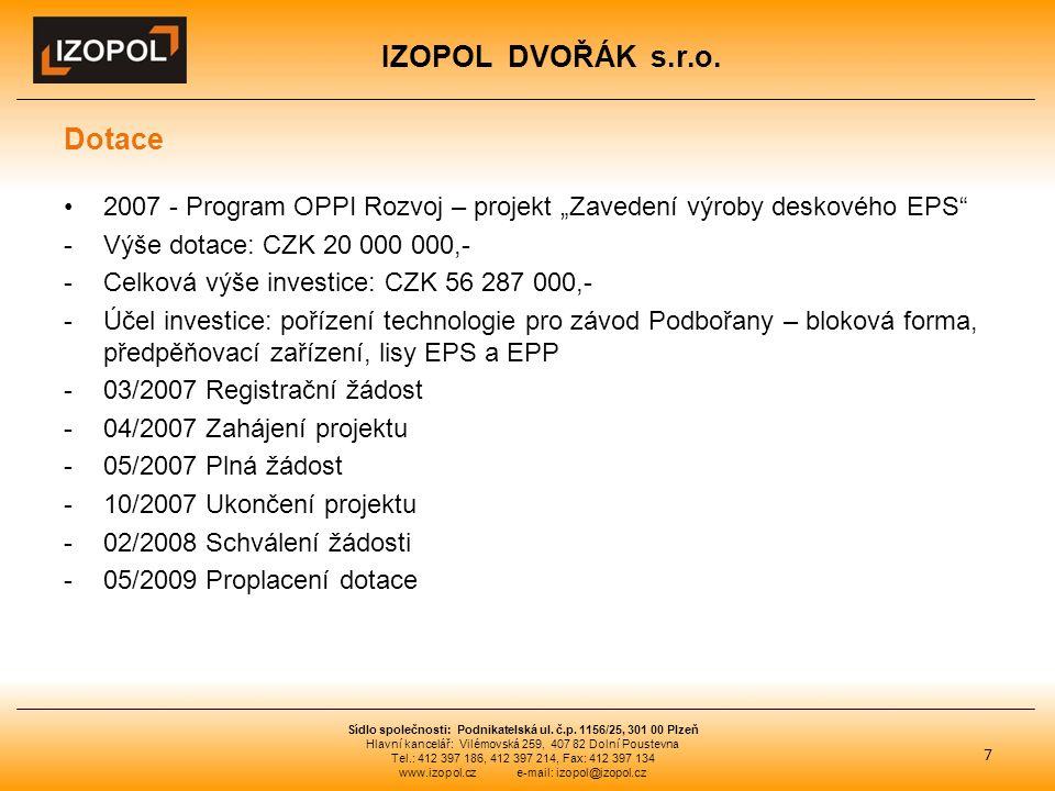 """IZOPOL DVOŘÁK s.r.o. Dotace 2007 - Program OPPI Rozvoj – projekt """"Zavedení výroby deskového EPS"""" -Výše dotace: CZK 20 000 000,- -Celková výše investic"""