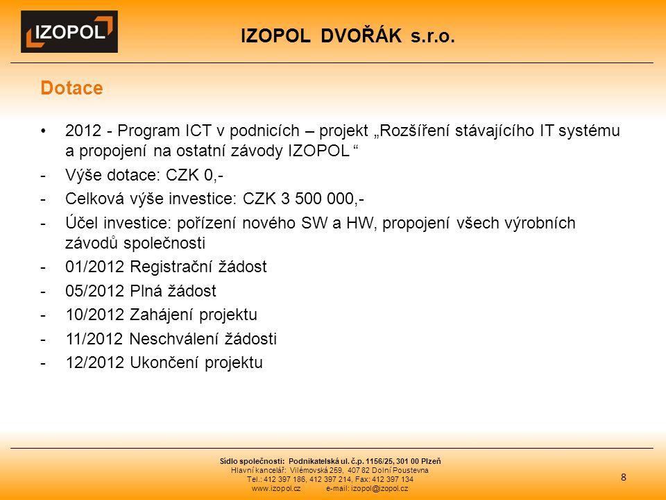 """IZOPOL DVOŘÁK s.r.o. Dotace 2012 - Program ICT v podnicích – projekt """"Rozšíření stávajícího IT systému a propojení na ostatní závody IZOPOL """" -Výše do"""