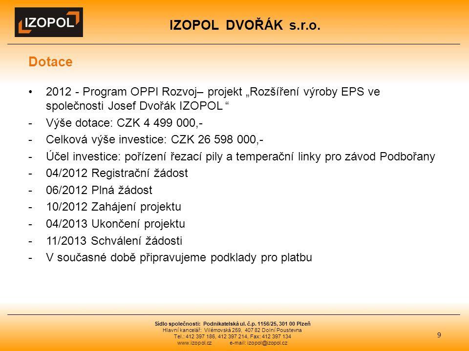 """IZOPOL DVOŘÁK s.r.o. Dotace 2012 - Program OPPI Rozvoj– projekt """"Rozšíření výroby EPS ve společnosti Josef Dvořák IZOPOL """" -Výše dotace: CZK 4 499 000"""