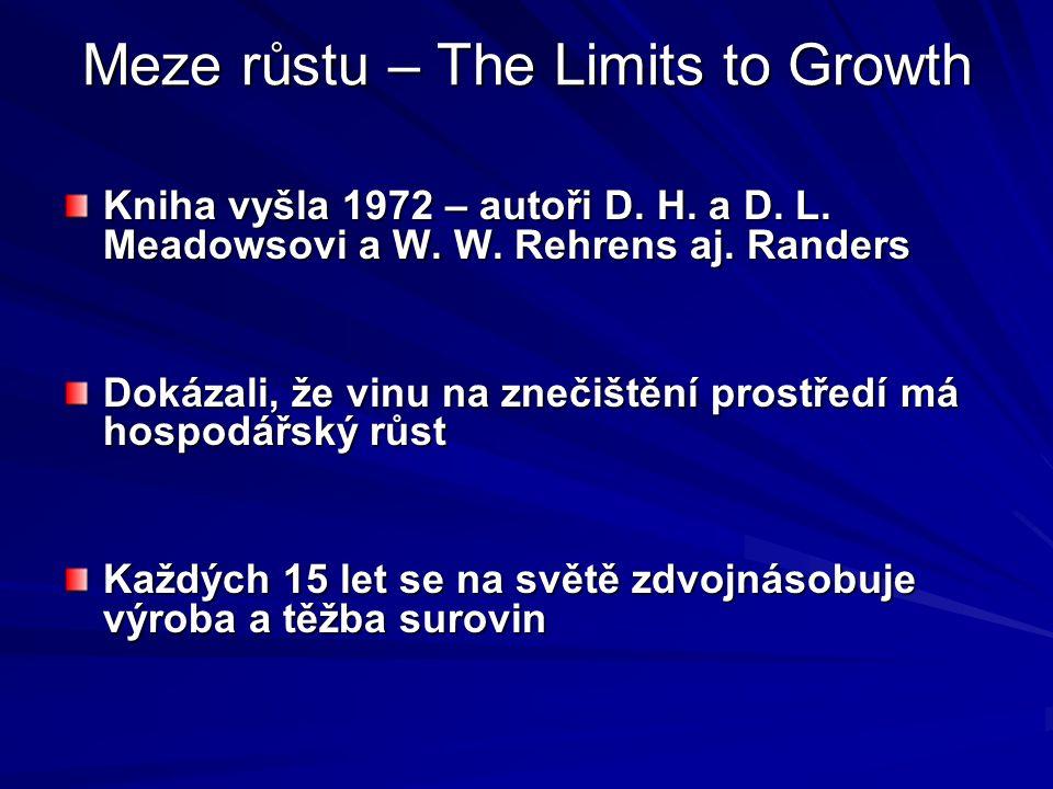Meze růstu – The Limits to Growth Kniha vyšla 1972 – autoři D.