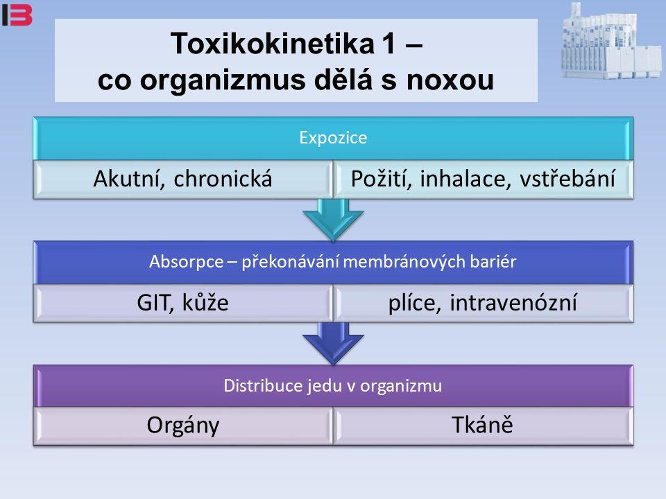 Toxikokinetika 1 – co organizmus dělá s noxou Distribuce jedu v organizmu OrgányTkáně Absorpce – překonávání membránových bariér GIT, kůžeplíce, intravenózní Expozice Akutní, chronickáPožití, inhalace, vstřebání