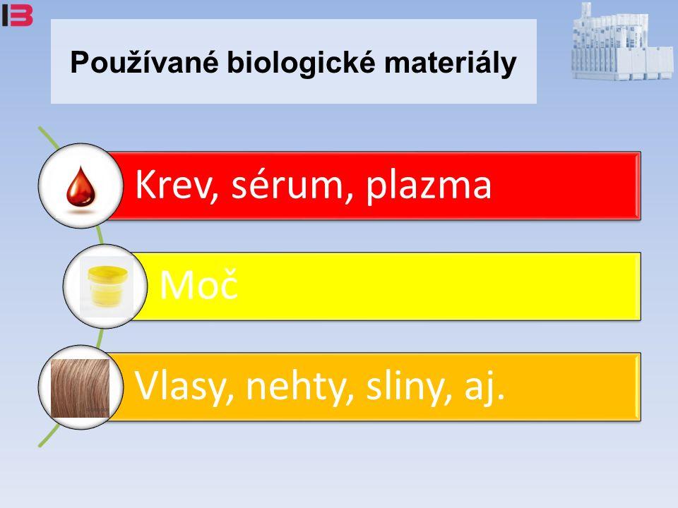 Používané biologické materiály Krev, sérum, plazma Moč Vlasy, nehty, sliny, aj.