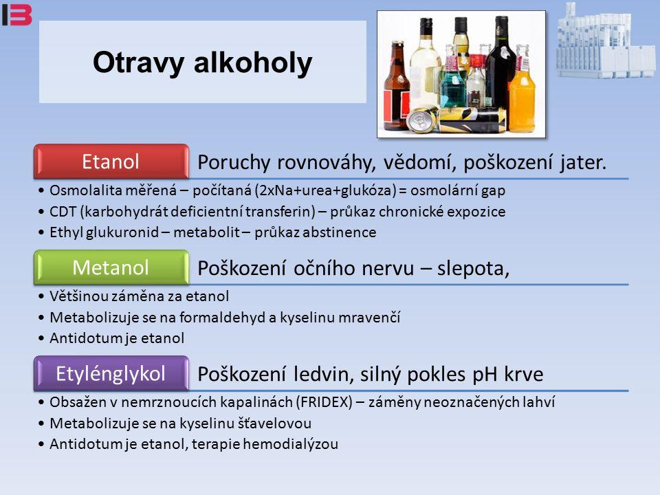 Otravy alkoholy Poruchy rovnováhy, vědomí, poškození jater.