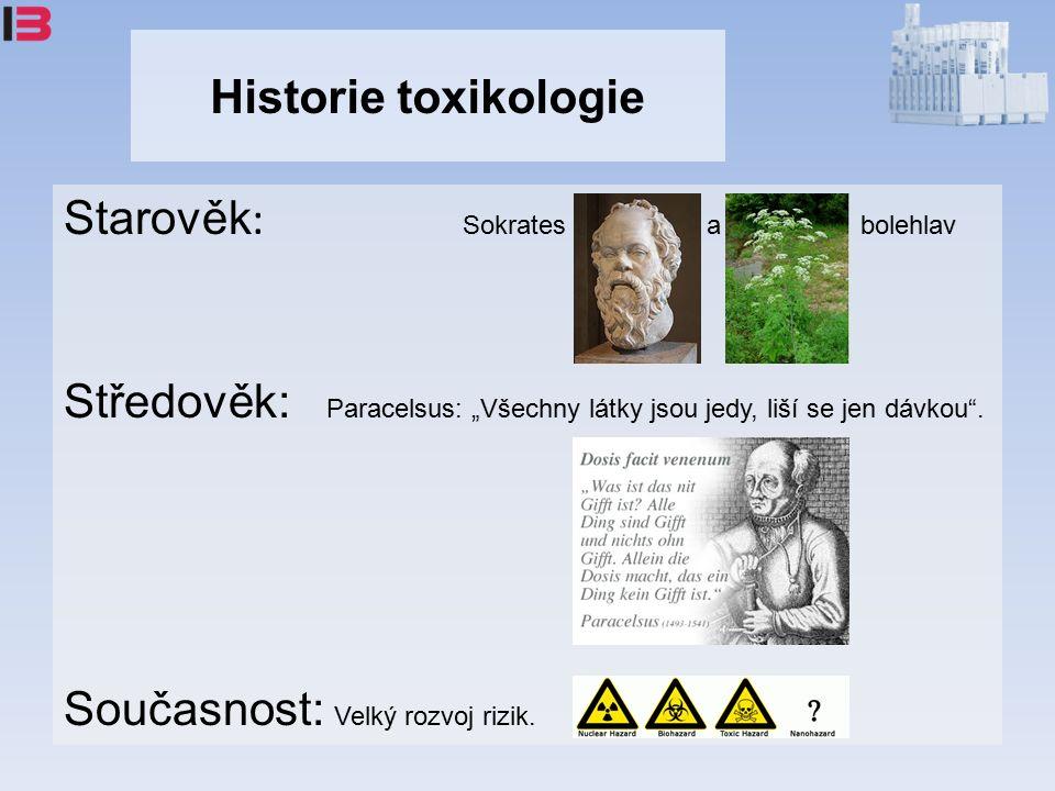 """Historie toxikologie Starověk : Sokrates a bolehlav Středověk: Paracelsus: """"Všechny látky jsou jedy, liší se jen dávkou ."""