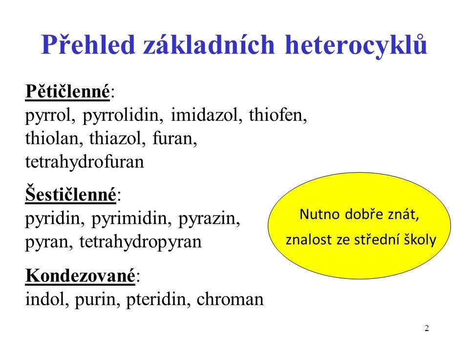 2 Přehled základních heterocyklů Pětičlenné: pyrrol, pyrrolidin, imidazol, thiofen, thiolan, thiazol, furan, tetrahydrofuran Šestičlenné: pyridin, pyr