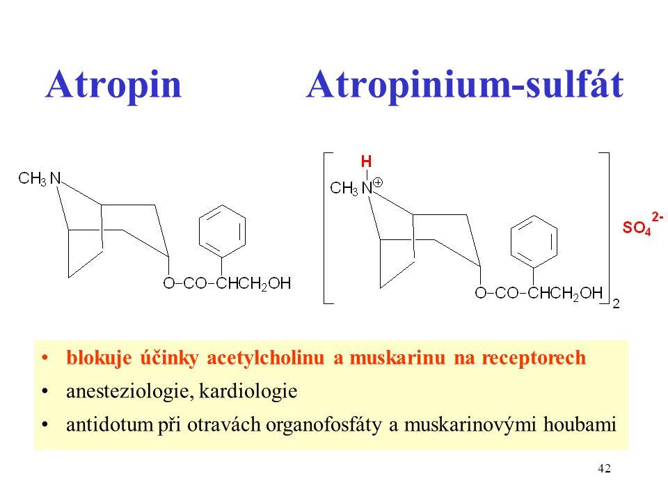 42 Atropin Atropinium-sulfát blokuje účinky acetylcholinu a muskarinu na receptorech anesteziologie, kardiologie antidotum při otravách organofosfáty