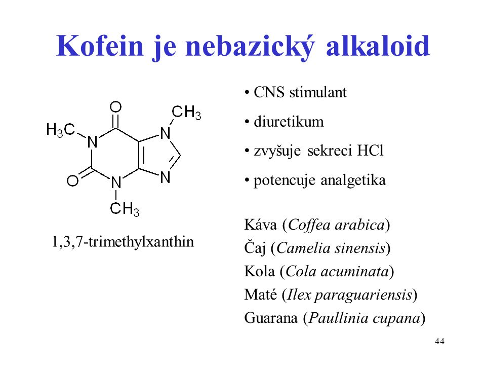 44 Kofein je nebazický alkaloid 1,3,7-trimethylxanthin CNS stimulant diuretikum zvyšuje sekreci HCl potencuje analgetika Káva (Coffea arabica) Čaj (Ca