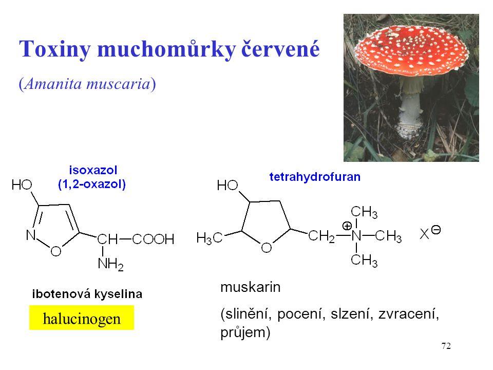 72 Toxiny muchomůrky červené (Amanita muscaria) halucinogen muskarin (slinění, pocení, slzení, zvracení, průjem)
