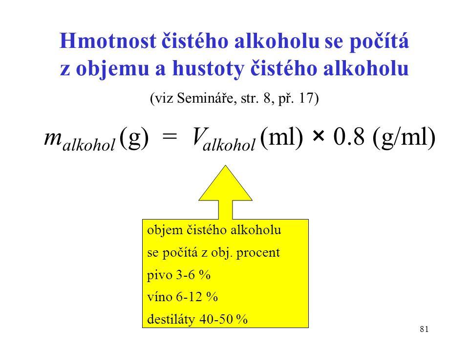 81 Hmotnost čistého alkoholu se počítá z objemu a hustoty čistého alkoholu (viz Semináře, str. 8, př. 17) m alkohol (g) = V alkohol (ml) × 0.8 (g/ml)