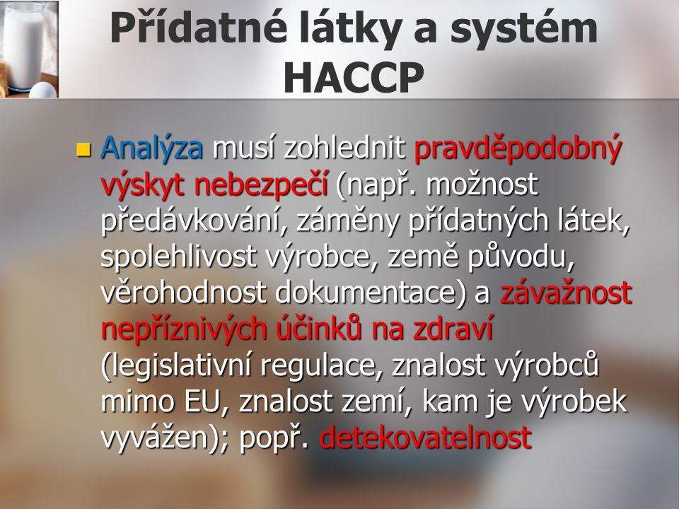 Přídatné látky a systém HACCP Analýza musí zohlednit pravděpodobný výskyt nebezpečí (např.