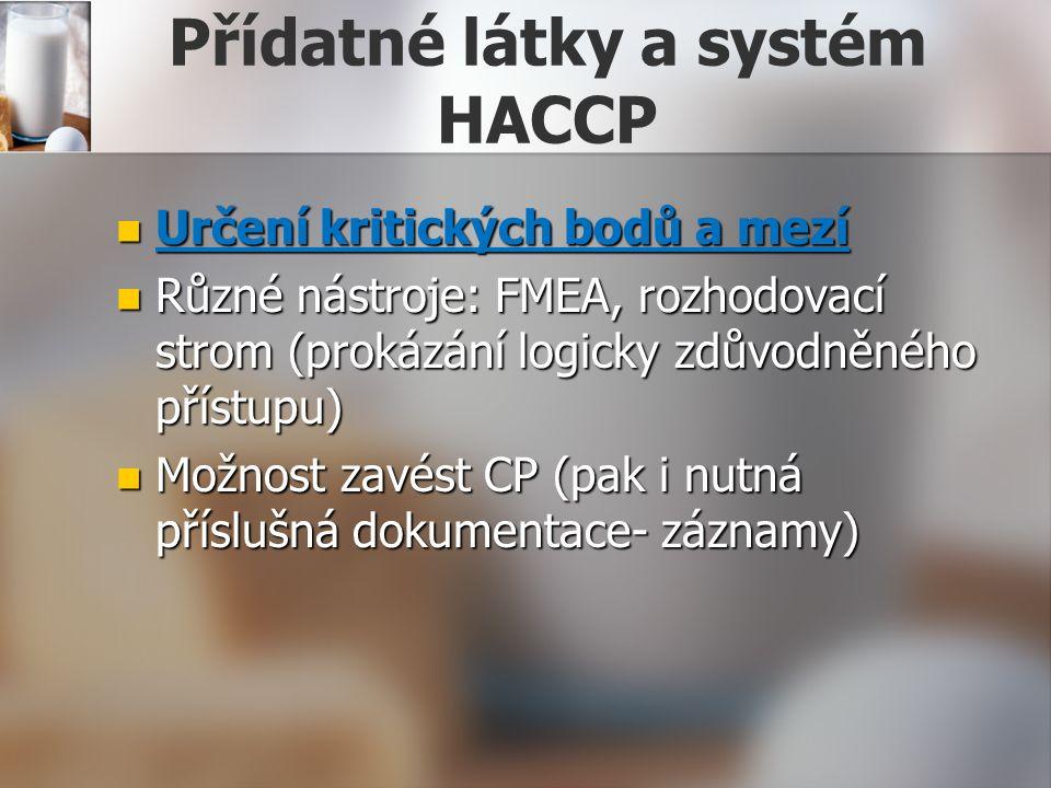 Přídatné látky a systém HACCP Určení kritických bodů a mezí Určení kritických bodů a mezí Různé nástroje: FMEA, rozhodovací strom (prokázání logicky zdůvodněného přístupu) Různé nástroje: FMEA, rozhodovací strom (prokázání logicky zdůvodněného přístupu) Možnost zavést CP (pak i nutná příslušná dokumentace- záznamy) Možnost zavést CP (pak i nutná příslušná dokumentace- záznamy)