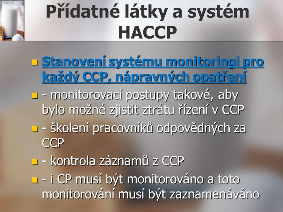 Přídatné látky a systém HACCP Stanovení systému monitoringi pro každý CCP, nápravných opatření Stanovení systému monitoringi pro každý CCP, nápravných opatření - monitorovací postupy takové, aby bylo možné zjistit ztrátu řízení v CCP - monitorovací postupy takové, aby bylo možné zjistit ztrátu řízení v CCP - školení pracovníků odpovědných za CCP - školení pracovníků odpovědných za CCP - kontrola záznamů z CCP - kontrola záznamů z CCP - i CP musí být monitorováno a toto monitorování musí být zaznamenáváno - i CP musí být monitorováno a toto monitorování musí být zaznamenáváno
