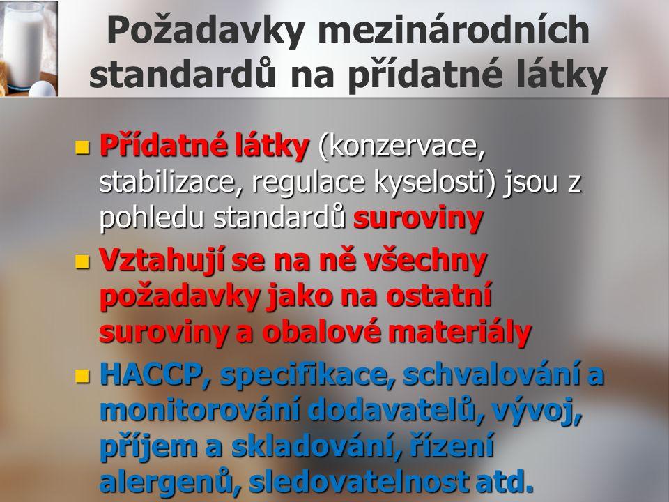 Požadavky mezinárodních standardů na přídatné látky Přídatné látky (konzervace, stabilizace, regulace kyselosti) jsou z pohledu standardů suroviny Přídatné látky (konzervace, stabilizace, regulace kyselosti) jsou z pohledu standardů suroviny Vztahují se na ně všechny požadavky jako na ostatní suroviny a obalové materiály Vztahují se na ně všechny požadavky jako na ostatní suroviny a obalové materiály HACCP, specifikace, schvalování a monitorování dodavatelů, vývoj, příjem a skladování, řízení alergenů, sledovatelnost atd.