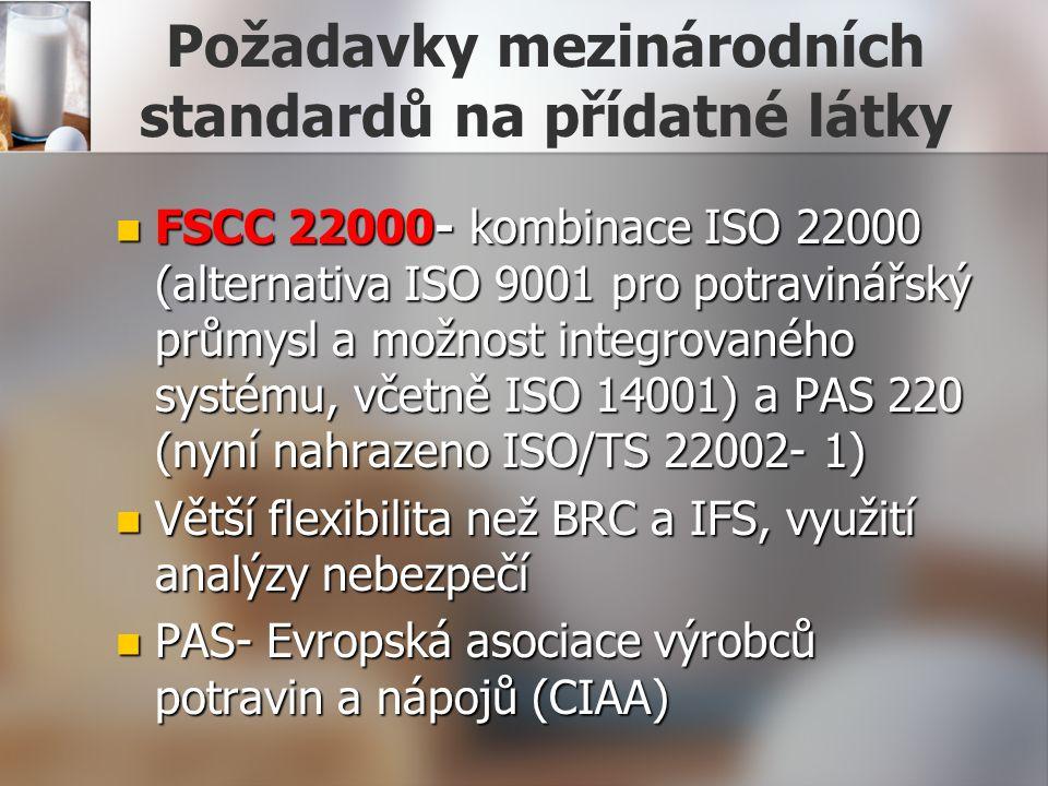 Požadavky mezinárodních standardů na přídatné látky FSCC 22000- kombinace ISO 22000 (alternativa ISO 9001 pro potravinářský průmysl a možnost integrovaného systému, včetně ISO 14001) a PAS 220 (nyní nahrazeno ISO/TS 22002- 1) FSCC 22000- kombinace ISO 22000 (alternativa ISO 9001 pro potravinářský průmysl a možnost integrovaného systému, včetně ISO 14001) a PAS 220 (nyní nahrazeno ISO/TS 22002- 1) Větší flexibilita než BRC a IFS, využití analýzy nebezpečí Větší flexibilita než BRC a IFS, využití analýzy nebezpečí PAS- Evropská asociace výrobců potravin a nápojů (CIAA) PAS- Evropská asociace výrobců potravin a nápojů (CIAA)
