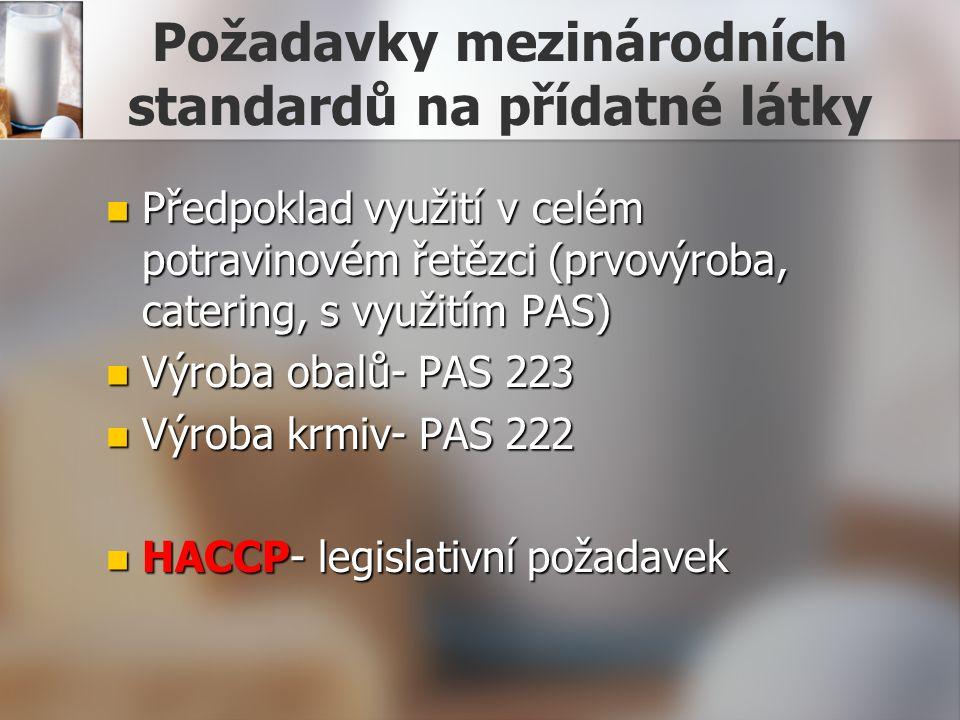Požadavky mezinárodních standardů na přídatné látky Předpoklad využití v celém potravinovém řetězci (prvovýroba, catering, s využitím PAS) Předpoklad využití v celém potravinovém řetězci (prvovýroba, catering, s využitím PAS) Výroba obalů- PAS 223 Výroba obalů- PAS 223 Výroba krmiv- PAS 222 Výroba krmiv- PAS 222 HACCP- legislativní požadavek HACCP- legislativní požadavek