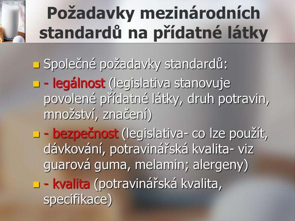 Požadavky mezinárodních standardů na přídatné látky Společné požadavky standardů: Společné požadavky standardů: - legálnost (legislativa stanovuje povolené přídatné látky, druh potravin, množství, značení) - legálnost (legislativa stanovuje povolené přídatné látky, druh potravin, množství, značení) - bezpečnost (legislativa- co lze použít, dávkování, potravinářská kvalita- viz guarová guma, melamin; alergeny) - bezpečnost (legislativa- co lze použít, dávkování, potravinářská kvalita- viz guarová guma, melamin; alergeny) - kvalita (potravinářská kvalita, specifikace) - kvalita (potravinářská kvalita, specifikace)