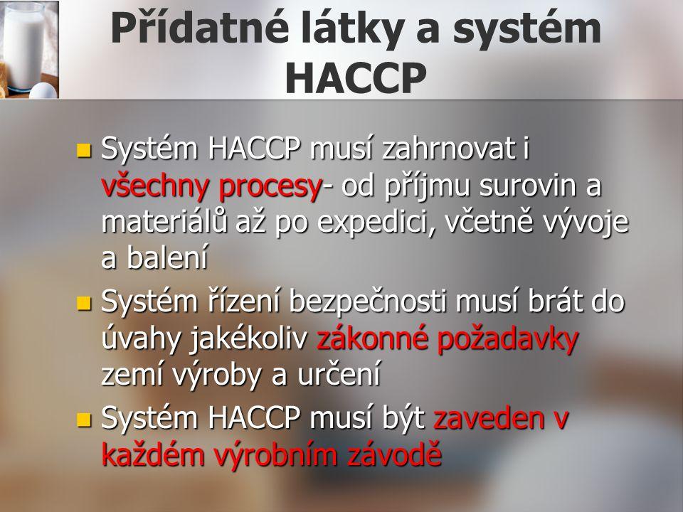 Přídatné látky a systém HACCP Systém HACCP musí zahrnovat i všechny procesy- od příjmu surovin a materiálů až po expedici, včetně vývoje a balení Systém HACCP musí zahrnovat i všechny procesy- od příjmu surovin a materiálů až po expedici, včetně vývoje a balení Systém řízení bezpečnosti musí brát do úvahy jakékoliv zákonné požadavky zemí výroby a určení Systém řízení bezpečnosti musí brát do úvahy jakékoliv zákonné požadavky zemí výroby a určení Systém HACCP musí být zaveden v každém výrobním závodě Systém HACCP musí být zaveden v každém výrobním závodě