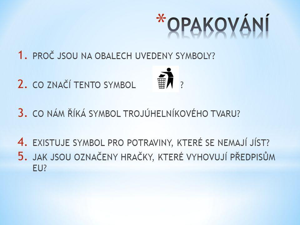 1. PROČ JSOU NA OBALECH UVEDENY SYMBOLY. 2. CO ZNAČÍ TENTO SYMBOL.