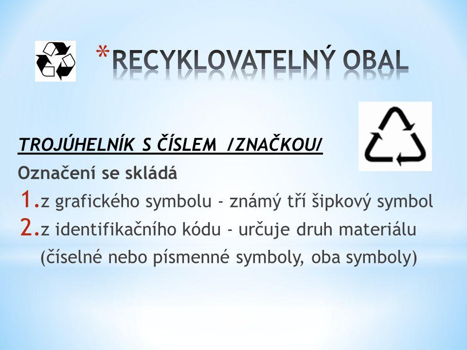 MATERIÁL PÍSEMNÝ KÓD ČÍSELNÝ KÓD * Polyethylentereftalát PET 1 * Papír PAP 22 * Bavlna TEX 60 * Bílé sklo GL 70