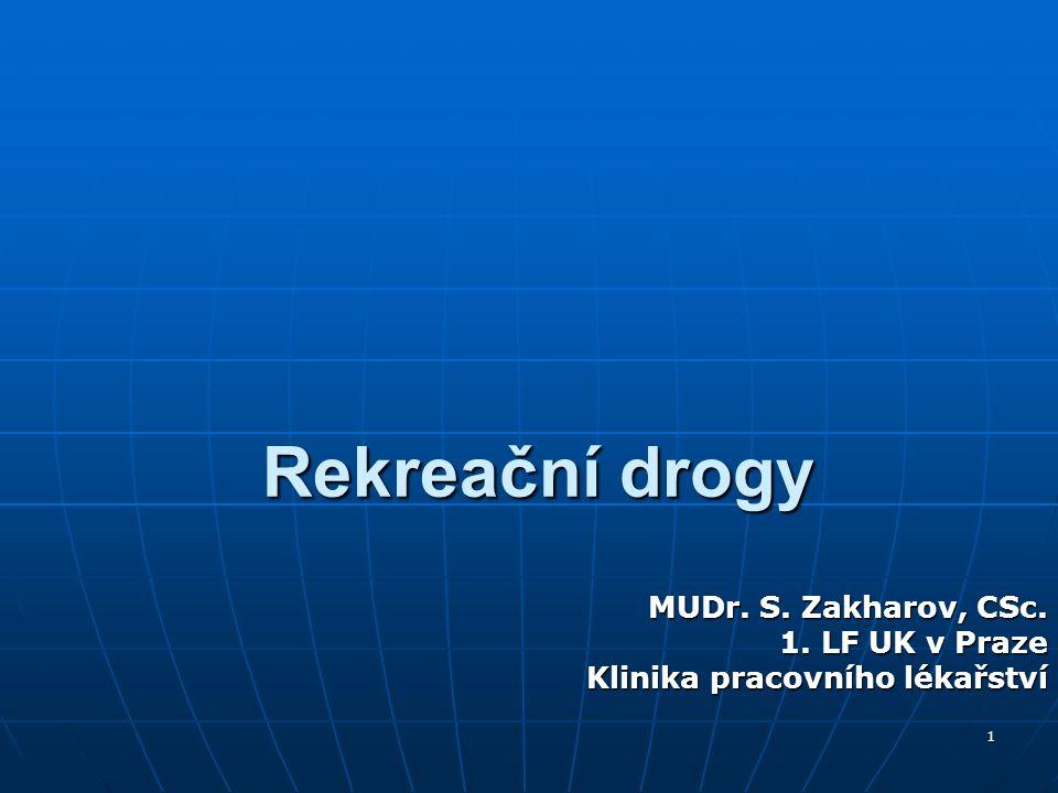 1 Rekreační drogy MUDr. S. Zakharov, CSc. 1. LF UK v Praze Klinika pracovního lékařství