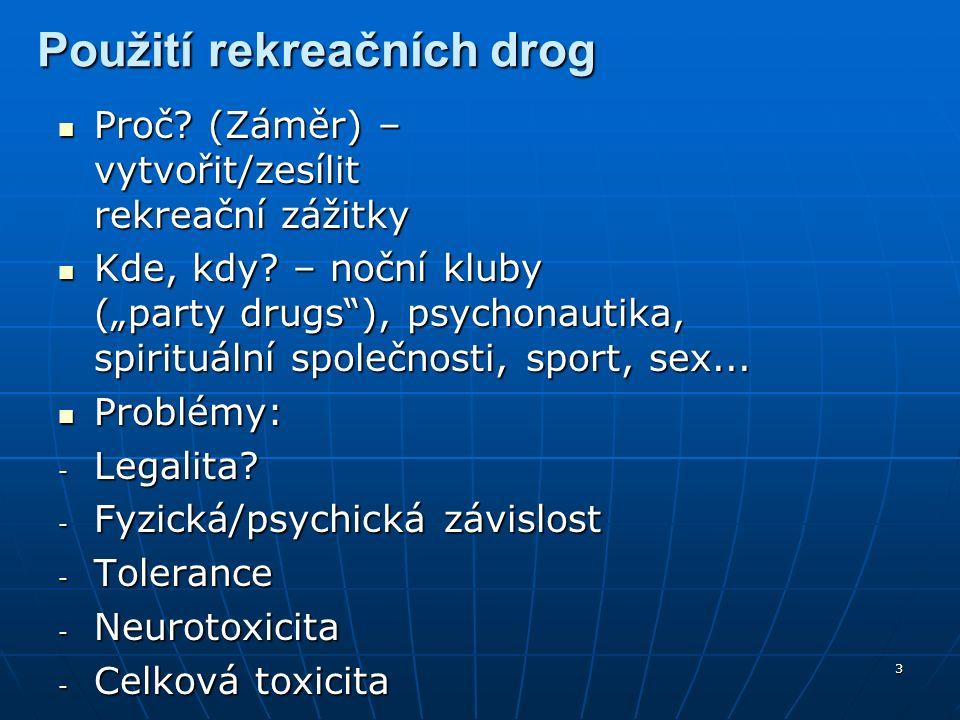 """44 Kokain a analogy Stimulanty (jako Amf.) Mechanismus účinku: jen inhibitor zpětného vychytávání DA/SER/NOR (ne DA/SER releaser) Přírodní zdroj: Erythroxylum coca (Kokainovník pravý) """"Crack = kokain+NaHCO3 (t°), vhodný pro kouření (inhalace) Symptomy abstinence (""""crash ): deprese, touha, svědění, úzkost, insomnia, vyčerpanost, unavenost, nausea, zvracení"""