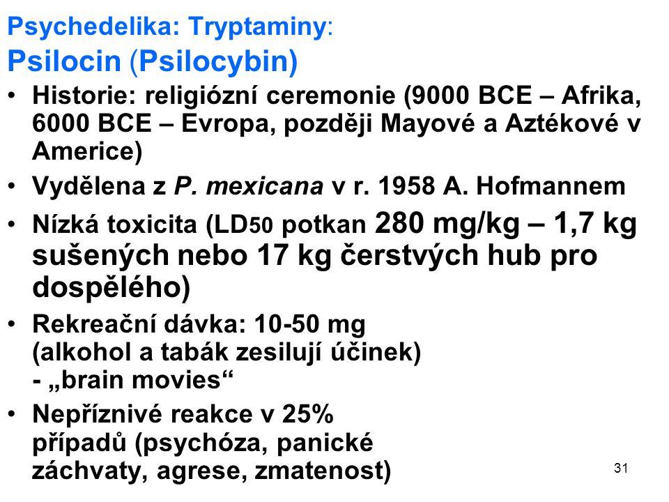 31 Psychedelika: Tryptaminy: Psilocin (Psilocybin) Historie: religiózní ceremonie (9000 BCE – Afrika, 6000 BCE – Evropa, později Mayové a Aztékové v Americe) Vydělena z P.