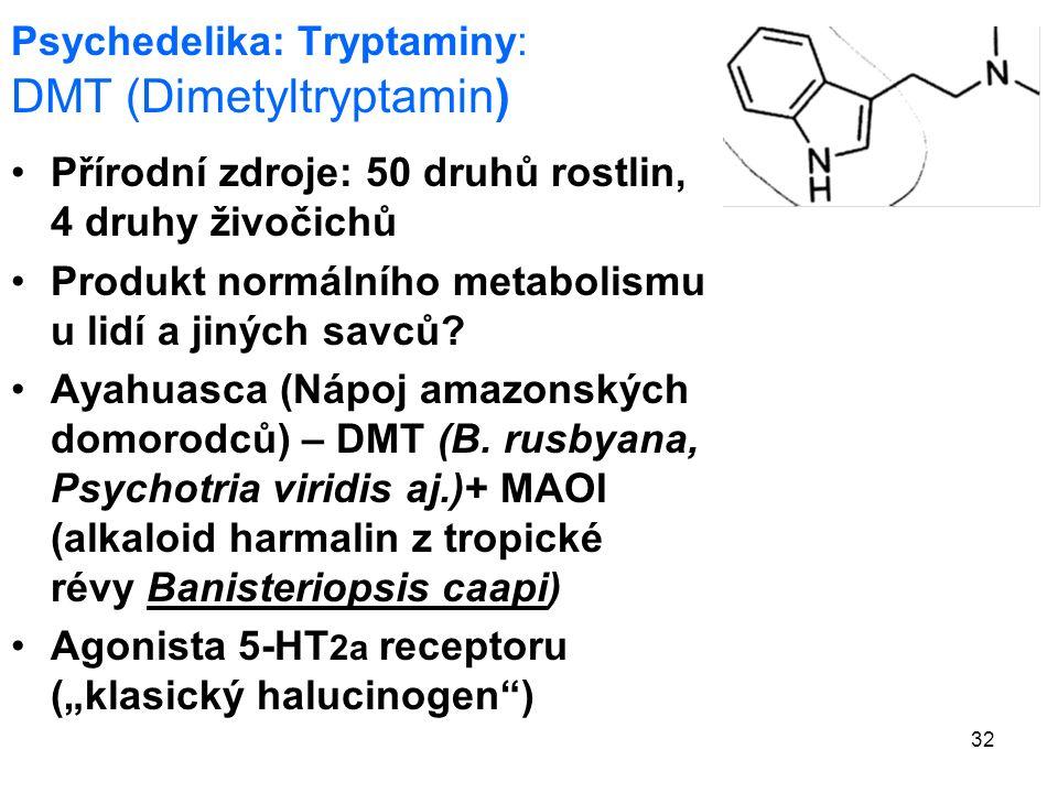 32 Psychedelika: Tryptaminy: DMT (Dimetyltryptamin) Přírodní zdroje: 50 druhů rostlin, 4 druhy živočichů Produkt normálního metabolismu u lidí a jiných savců.