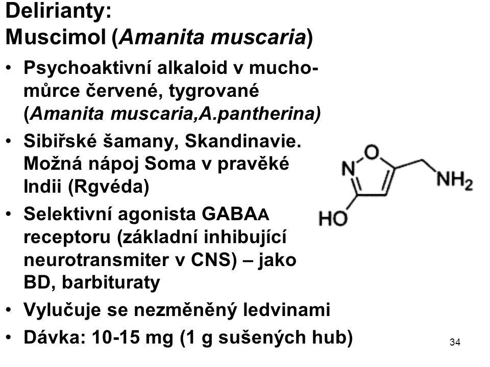 34 Delirianty: Muscimol (Amanita muscaria) Psychoaktivní alkaloid v mucho- můrce červené, tygrované (Amanita muscaria,A.pantherina) Sibiřské šamany, Skandinavie.