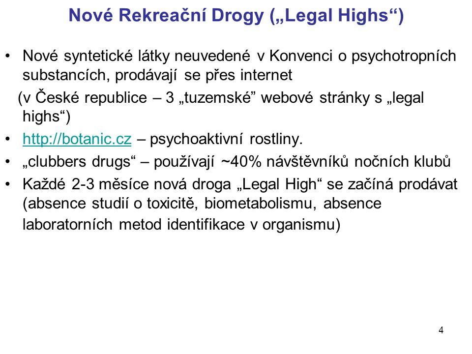 """4 Nové Rekreační Drogy (""""Legal Highs ) Nové syntetické látky neuvedené v Konvenci o psychotropních substancích, prodávají se přes internet (v České republice – 3 """"tuzemské webové stránky s """"legal highs ) http://botanic.cz – psychoaktivní rostliny.http://botanic.cz """"clubbers drugs – používají ~40% návštěvníků nočních klubů Každé 2-3 měsíce nová droga """"Legal High se začíná prodávat (absence studií o toxicitě, biometabolismu, absence laboratorních metod identifikace v organismu)"""