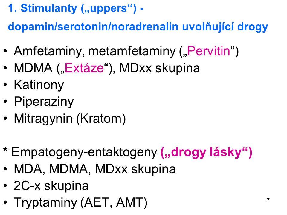 "7 1. Stimulanty (""uppers"") - dopamin/serotonin/noradrenalin uvolňující drogy Amfetaminy, metamfetaminy (""Pervitin"") MDMA (""Extáze""), MDxx skupina Kati"