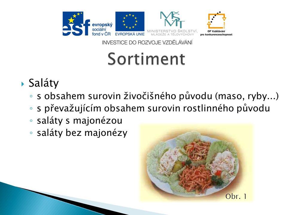  Saláty ◦ s obsahem surovin živočišného původu (maso, ryby...) ◦ s převažujícím obsahem surovin rostlinného původu ◦ saláty s majonézou ◦ saláty bez majonézy Obr.