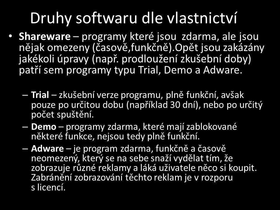 Druhy softwaru dle vlastnictví Shareware – programy které jsou zdarma, ale jsou nějak omezeny (časově,funkčně).Opět jsou zakázány jakékoli úpravy (např.