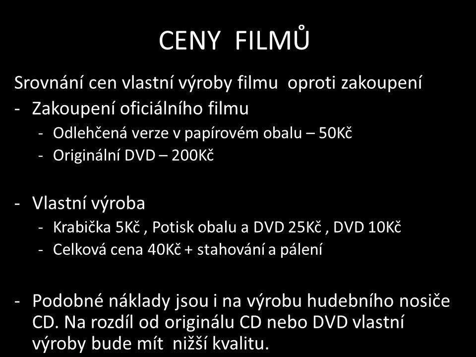 CENY FILMŮ Srovnání cen vlastní výroby filmu oproti zakoupení -Zakoupení oficiálního filmu -Odlehčená verze v papírovém obalu – 50Kč -Originální DVD – 200Kč -Vlastní výroba -Krabička 5Kč, Potisk obalu a DVD 25Kč, DVD 10Kč -Celková cena 40Kč + stahování a pálení -Podobné náklady jsou i na výrobu hudebního nosiče CD.