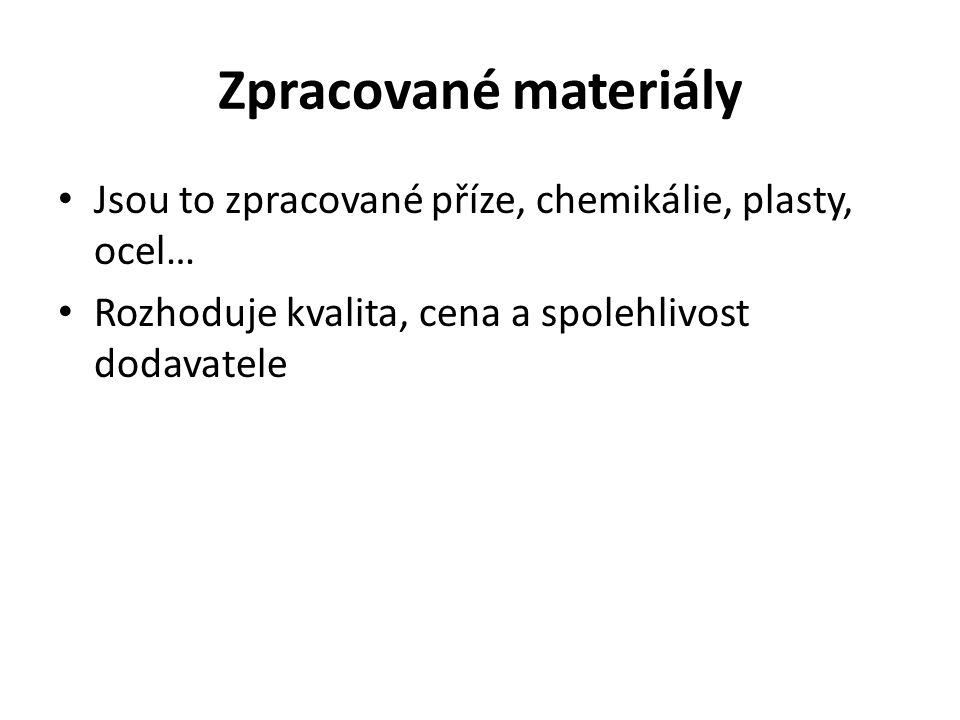Zpracované materiály Jsou to zpracované příze, chemikálie, plasty, ocel… Rozhoduje kvalita, cena a spolehlivost dodavatele
