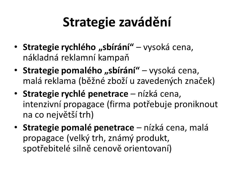 """Strategie zavádění Strategie rychlého """"sbírání – vysoká cena, nákladná reklamní kampaň Strategie pomalého """"sbírání – vysoká cena, malá reklama (běžné zboží u zavedených značek) Strategie rychlé penetrace – nízká cena, intenzivní propagace (firma potřebuje proniknout na co největší trh) Strategie pomalé penetrace – nízká cena, malá propagace (velký trh, známý produkt, spotřebitelé silně cenově orientovaní)"""