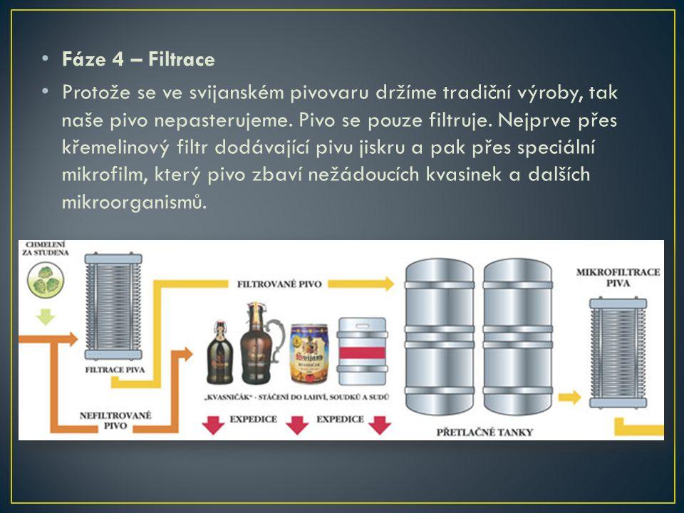 Fáze 4 – Filtrace Protože se ve svijanském pivovaru držíme tradiční výroby, tak naše pivo nepasterujeme.