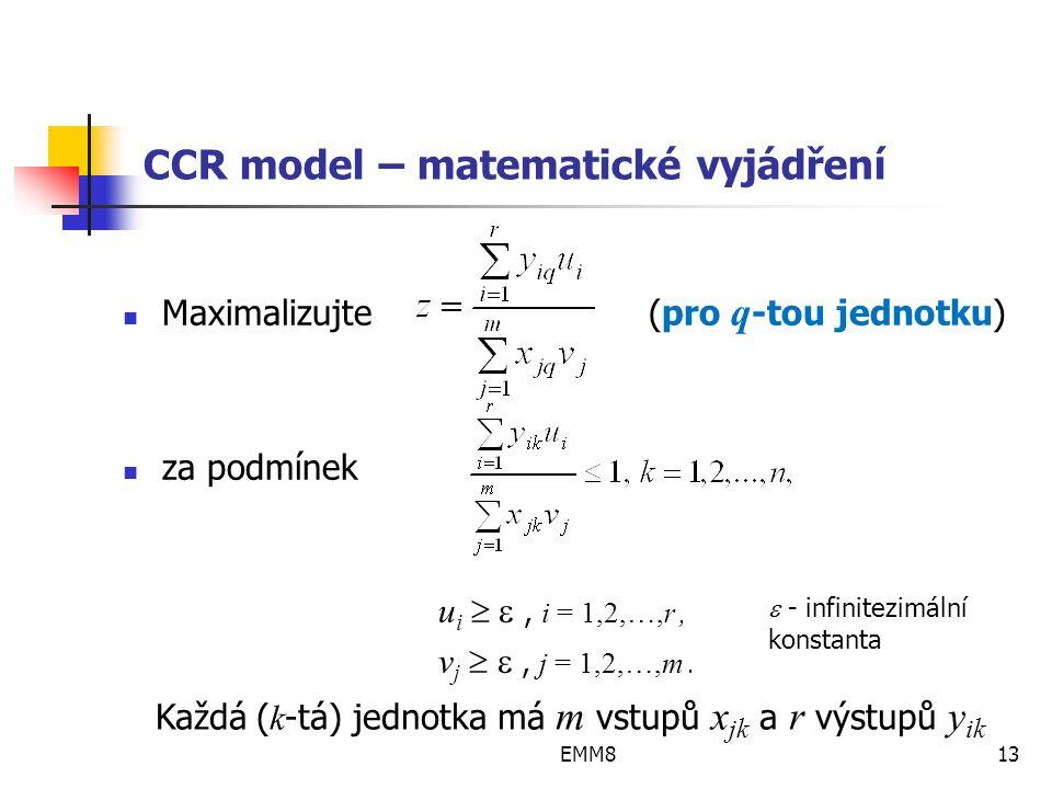 EMM813 CCR model – matematické vyjádření Maximalizujte(pro q -tou jednotku) za podmínek u i  , i = 1,2,…,r, v j  , j = 1,2,…,m.