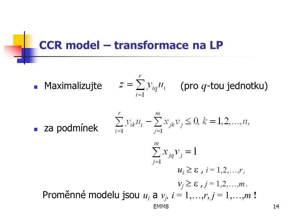 EMM814 CCR model – transformace na LP Maximalizujte (pro q -tou jednotku) za podmínek u i  , i = 1,2,…,r, v j  , j = 1,2,…,m.