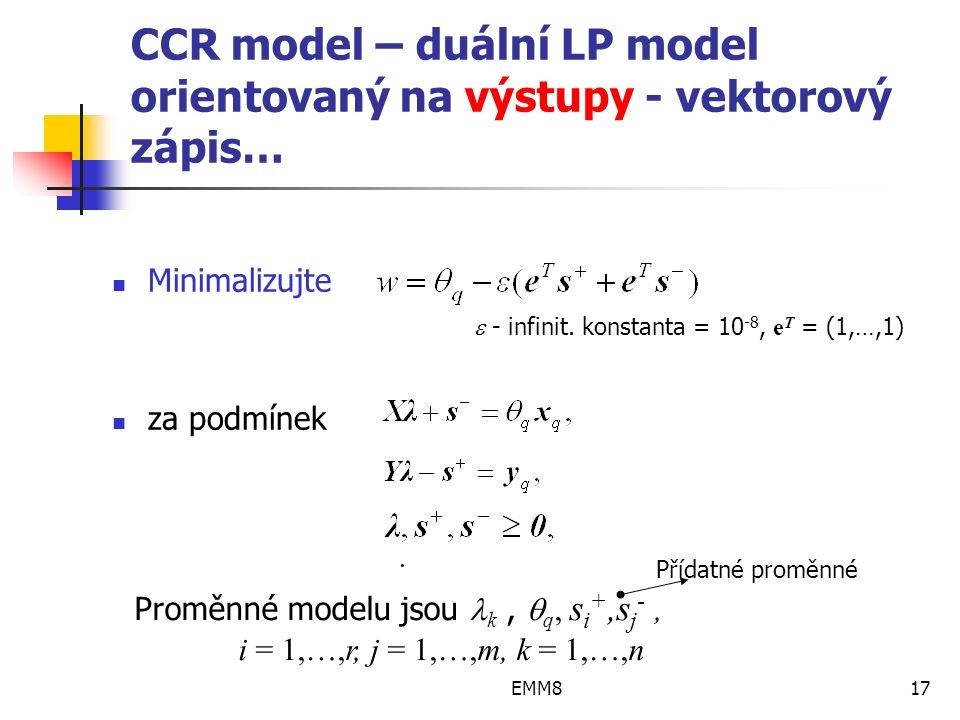 EMM817 CCR model – duální LP model orientovaný na výstupy - vektorový zápis… Minimalizujte za podmínek.