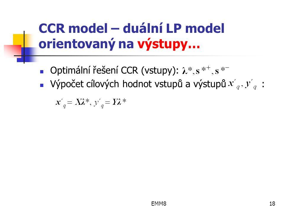 EMM818 CCR model – duální LP model orientovaný na výstupy… Optimální řešení CCR (vstupy): Výpočet cílových hodnot vstupů a výstupů :