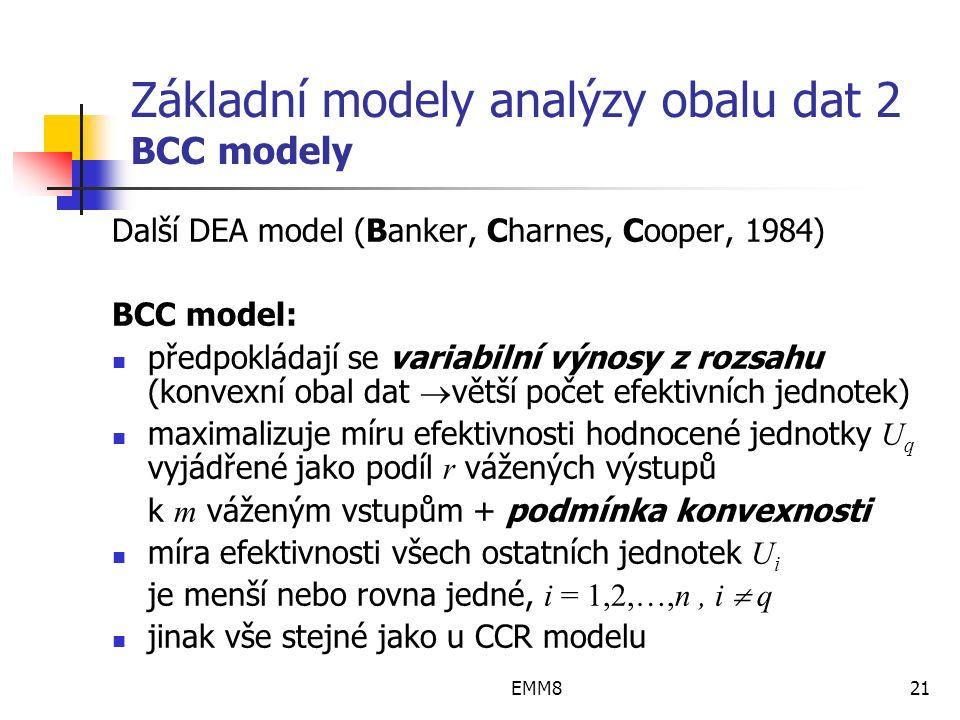 EMM821 Základní modely analýzy obalu dat 2 BCC modely Další DEA model (Banker, Charnes, Cooper, 1984) BCC model: předpokládají se variabilní výnosy z rozsahu (konvexní obal dat  větší počet efektivních jednotek) maximalizuje míru efektivnosti hodnocené jednotky U q vyjádřené jako podíl r vážených výstupů k m váženým vstupům + podmínka konvexnosti míra efektivnosti všech ostatních jednotek U i je menší nebo rovna jedné, i = 1,2,…,n, i  q jinak vše stejné jako u CCR modelu