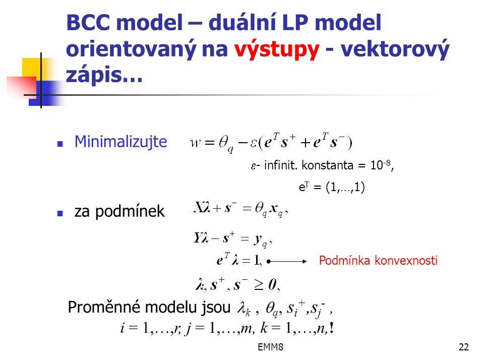 EMM822 BCC model – duální LP model orientovaný na výstupy - vektorový zápis… Minimalizujte za podmínek.