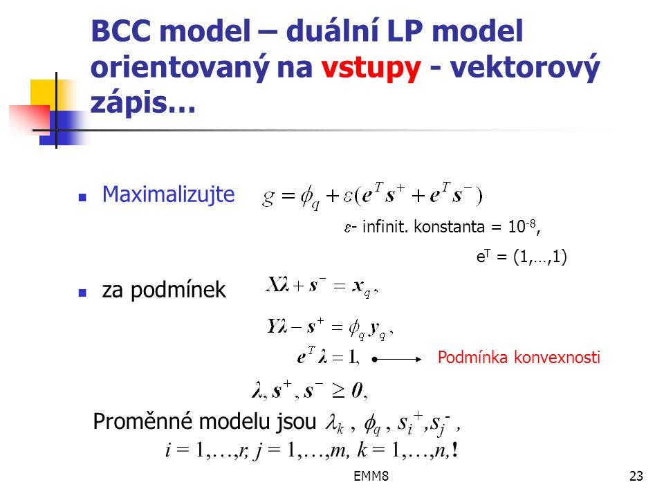 EMM823 BCC model – duální LP model orientovaný na vstupy - vektorový zápis… Maximalizujte za podmínek.