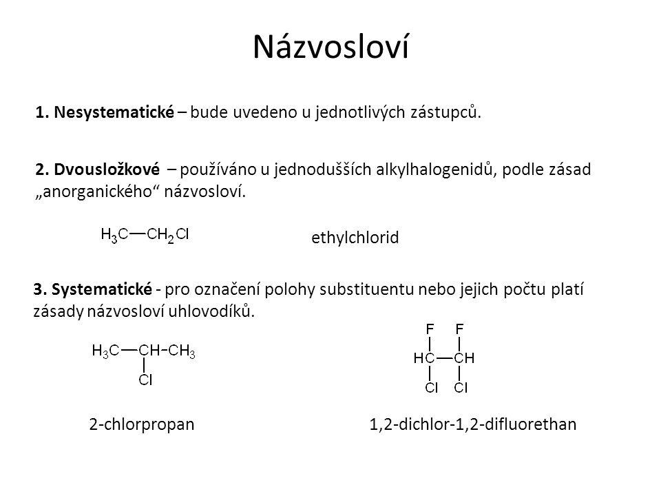 """Názvosloví 1. Nesystematické – bude uvedeno u jednotlivých zástupců. 2. Dvousložkové – používáno u jednodušších alkylhalogenidů, podle zásad """"anorgani"""