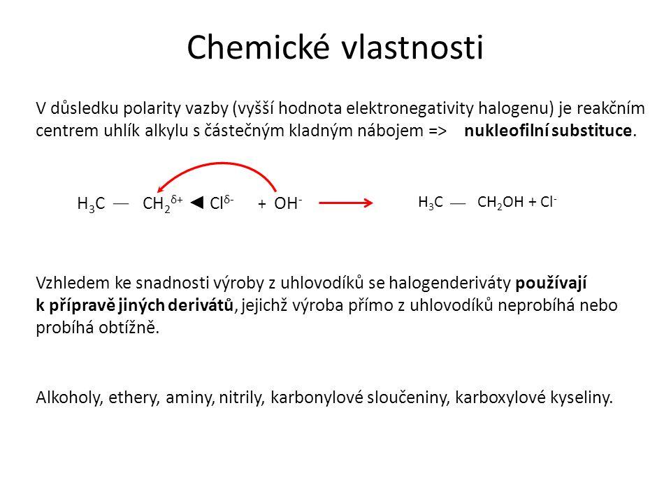 Chemické vlastnosti R δ+ – X δ- R – OH alkoholy R – OR´ ethery R – CN nitrily R – NH 2 aminy