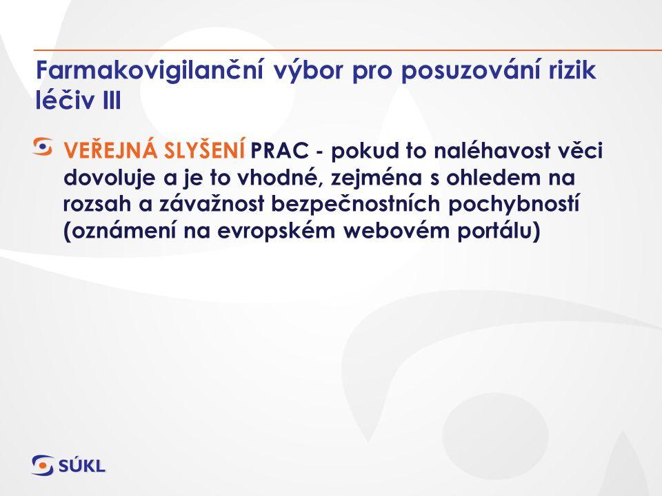 Farmakovigilanční výbor pro posuzování rizik léčiv III VEŘEJNÁ SLYŠENÍ PRAC - pokud to naléhavost věci dovoluje a je to vhodné, zejména s ohledem na rozsah a závažnost bezpečnostních pochybností (oznámení na evropském webovém portálu)